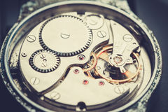 Mechanism antique vintage wrist watch Royalty Free Stock Photos