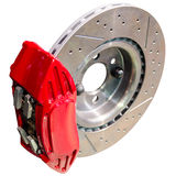 Mechanism of automobile disc brakes: assembled caliper with disk. And pads isolate Stock Image