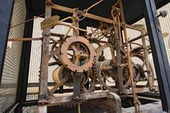 Mechanism of a big tower clock Stock Images