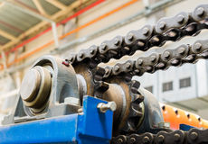 The mechanism of the chain transmission. Bearing, drive shaft, g. Ear and chain lubrication royalty free stock photos