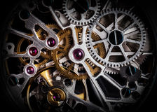 Mechanism, clockwork of a watch with jewels, close-up. Vintage luxury. Background. Time, work concept Stock Photos