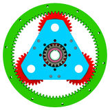 Mechanism of colored gears Royalty Free Stock Photo
