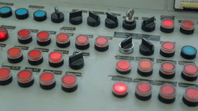On the mechanism of the control panel flashes a lot of buttons. stock video