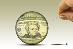 Dollar bubble. Mechanism of controlling currency inflation. Royalty Free Stock Images