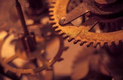 Mechanism and details of old retro clock close-up Royalty Free Stock Photo