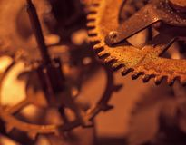 Mechanism and details of old retro clock close-up.  Royalty Free Stock Photo