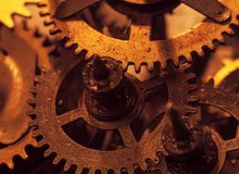 Mechanism and details of old retro clock close-up.  Stock Images