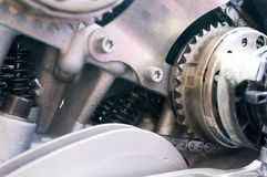 Mechanism with gear, spring and chain Royalty Free Stock Photos