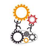 Mechanism with gear wheels and executive men Royalty Free Stock Images