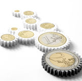 Mechanism of gears with euro coins Stock Photos