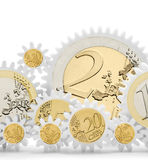 Mechanism of gears with euro coins Stock Image