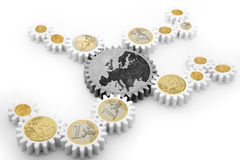 Mechanism of gears with euro coins Stock Photo
