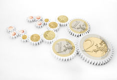 Mechanism of gears with euro coins Royalty Free Stock Photo