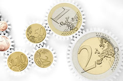 Mechanism of gears with euro coins Royalty Free Stock Images