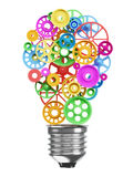 Mechanism of the gears in the form of an electric lamp bulb. Ide royalty free illustration