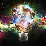 Mechanism gears lighting lightbulb. 3d rendering. Big bulb light with gears mechanisms and lighting effects. Concept of a big creative business idea. 3d Royalty Free Stock Photos