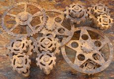 Mechanism of gears rusted Royalty Free Stock Photography