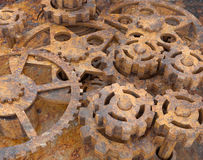 Mechanism of gears rusted Royalty Free Stock Photo