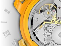 Mechanism of hours. Background the mechanism of hours in the gold case with a dial Royalty Free Stock Photos