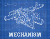 Mechanism illustration with title Stock Images