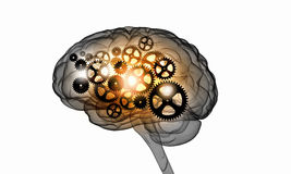 Mechanism inside human brain. Illustration of human brain with cogwheel mechanisms on white background Royalty Free Stock Image