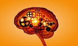 Mechanism inside human brain . mixed media Stock Photography