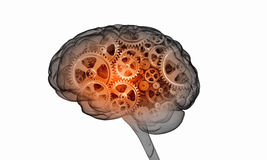 Mechanism inside human brain . Mixed media Royalty Free Stock Image