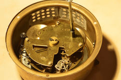 Mechanism. The inside of the watch with the sound signal Stock Image