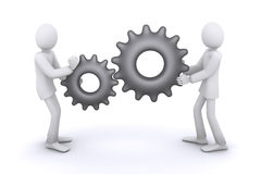 Mechanism of joint work. People as gears vector illustration