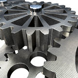 Mechanism of Metal Gears and Cogwheels Movement Transmission. Royalty Free Stock Photography