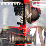 Mechanism of the motor gear under glass. The mechanism of the motor gear under glass Stock Images