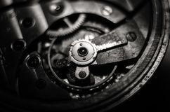 The mechanism of old antique pocket watches, Close up view of old clock`s gears. selective focus.  stock photos