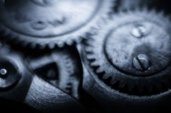 The mechanism of old antique pocket watches, Close up view of old clock`s gears. selective focus.  royalty free stock photo