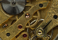 Mechanism of old clock Stock Photos
