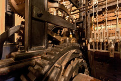 Mechanism of the old clock tower Royalty Free Stock Images