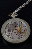 Mechanism of old pocket watch on a black background Royalty Free Stock Images