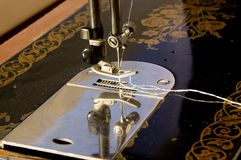 The mechanism of the old sewing machine stock photos