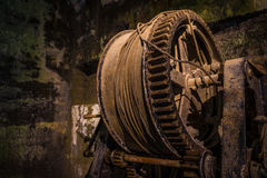 The mechanism of a old and vintage winch Royalty Free Stock Image