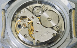 Mechanism of old wristwatches Royalty Free Stock Photos