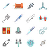 Mechanism parts icons set, cartoon style. Mechanism parts icons set. Cartoon illustration of 16 mechanism parts vector icons for web stock illustration