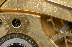 The mechanism of pocket hours. Antiques. Silver hours. Two objectives. Depth of sharpness of 2 mm Stock Image