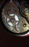 Mechanism of pocket watch with grunge texture Stock Images
