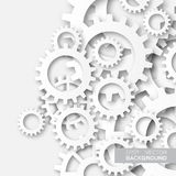 Mechanism system cogwheels. White gears. Origami paper cut style tech project Stock Images