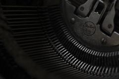 Mechanism of typewriter typewriter, black background stock photo