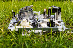 Mechanism video tapes grass Stock Photo