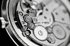 Mechanism of wrist watches in the clear. Shallow depth of field. Mechanism of wrist watches in the clear closeup. Shallow depth of field stock image