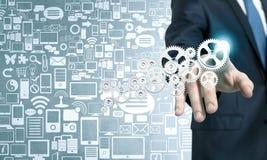 Mechanisme van zakenman het activerende toestellen Stock Afbeelding