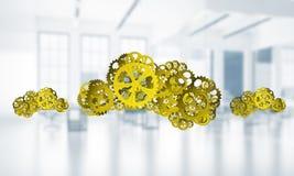 Mechanismen als symbool van draadloze die verbinding en interactie op witte bureauachtergrond wordt voorgesteld Royalty-vrije Stock Afbeelding