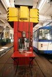 Mechanisms Inside trolleybus depot Stock Photo