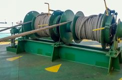 Free Mechanisms Of Tension Control Ropes. Winches. Equipment On The Deck Of A Cargo Ship Or Stock Images - 144694074